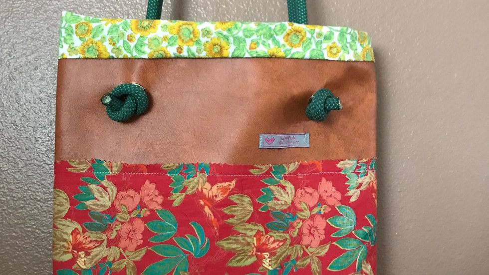 Brown with red Floral and Green and Yellow Floral Interior