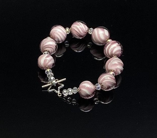 Soft Swirl Mauve and white bracelet