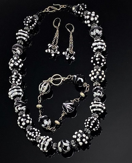 Stunning Black and White Lampwork Bead 3 Piece Necklace Set