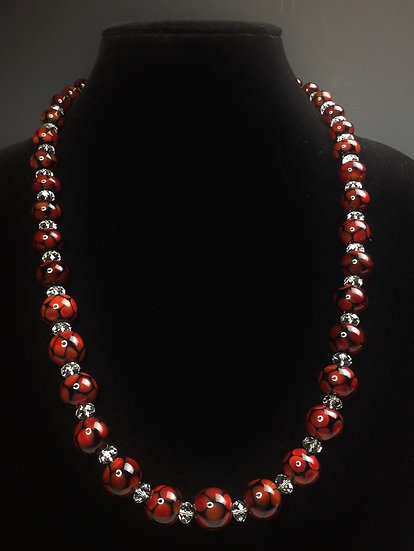Statement Handmade Black and Red Bead Necklace and Earrings Set
