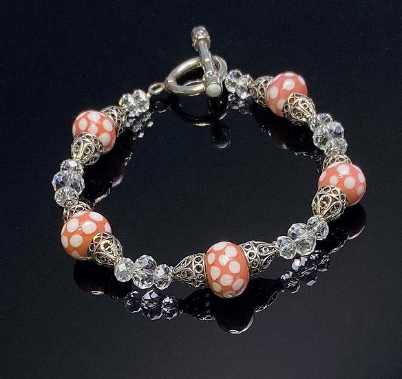 Silver Filigree, Coral with White Polka Dots Bracelet