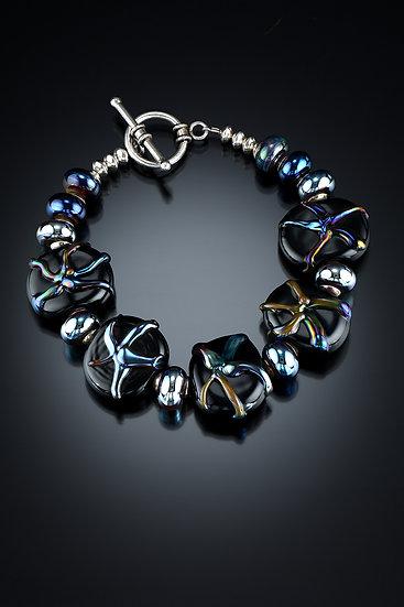 Black Beads with Metallic Glass Starfish Bracelet