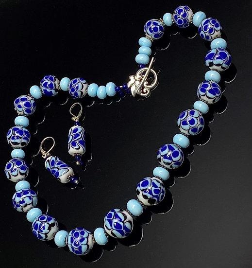 Murano Style Sky Blue, Black, Royal Blue Necklace