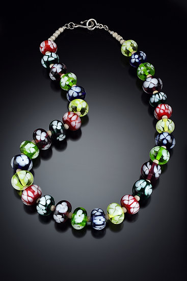 Murano Style Multi-colored Floral Necklace
