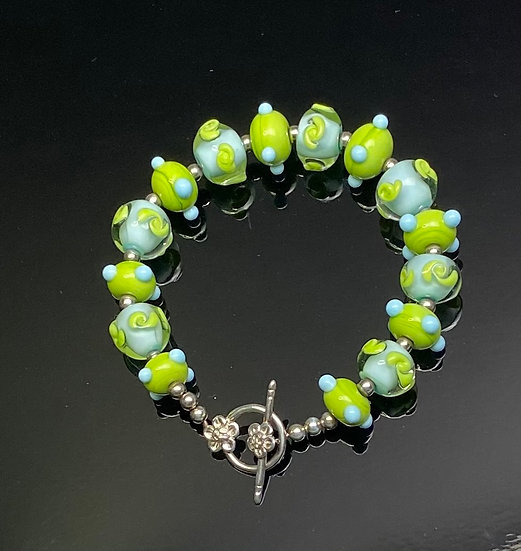 Lime Green/Sky Blue Glass Beads and Sterling Silver Bracelet