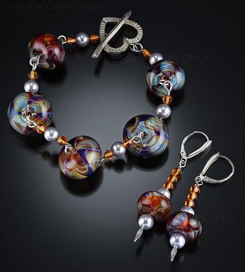 Wig Wag Double Amber Purple Bracelet & Earrings