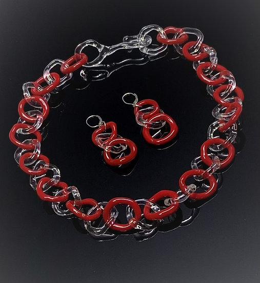 Red and Clear Link Chain Necklace and Earrings