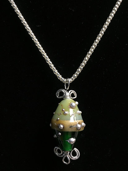 Ivory, Green, Silver Bicone Pendant with Sterling Silver Chain