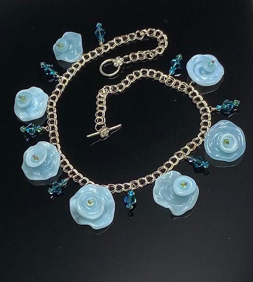 Dainty Sky Blue Floral Necklace