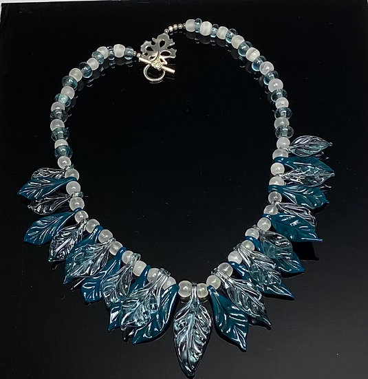 Statement Piece Set of Light and Dark Teal Leaf Necklace and Earrings