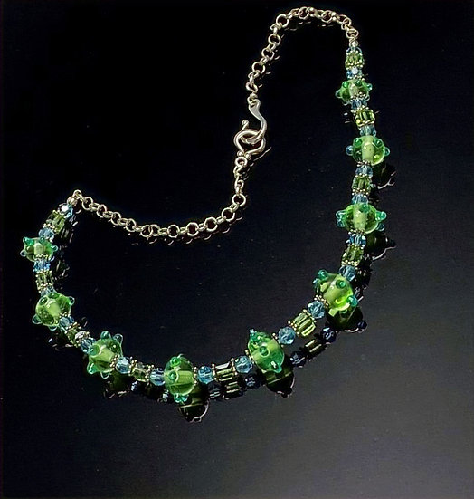 Statement Necklace| Unique handmade Green Glass Lampwork beads, Swarovski