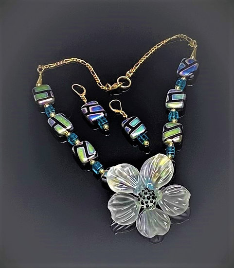 Statement Large Frosted Flower Necklace and Earrings Set