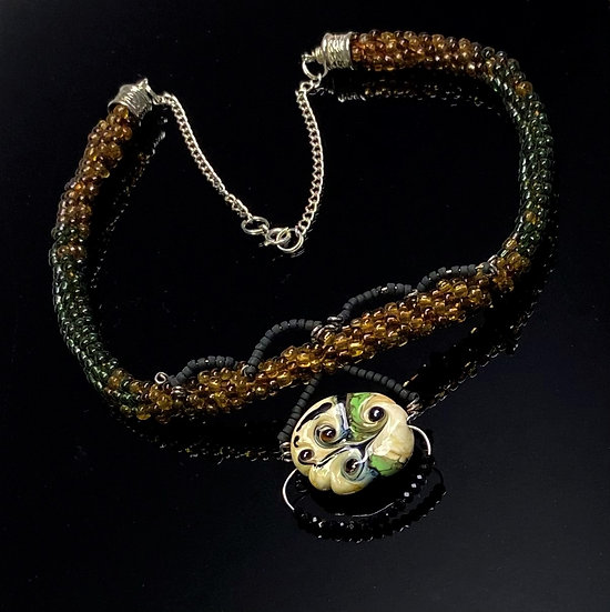 Autumn Green and Gold Pendant Necklace