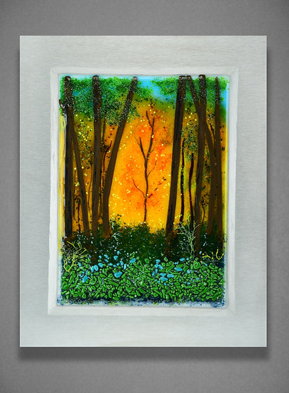 """""""Autumn  Fire"""" Glass Landscape Painting"""