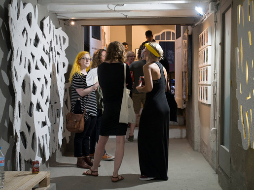 exhibition extends in to corridor space