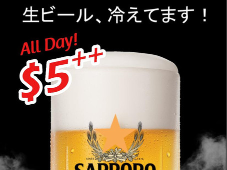 $5 Sapporo Draft Beer Promotion!