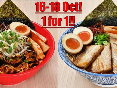 Hokkaido Ramen 1 for 1 Today at Novena!