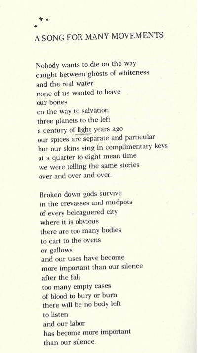 A Song for Many Movements | Audre Lorde | The Brown Pages | The People's Church of the G.H.E.T.T.O
