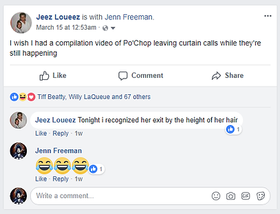 Screenshot of Jeez Loueez Calling Po'Chop Out on FB