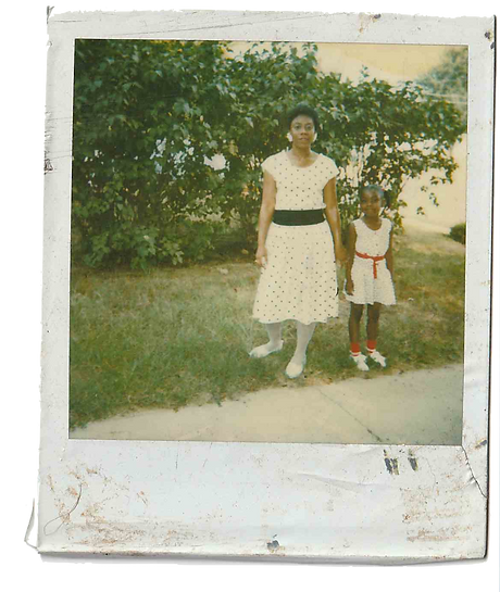 Polaroid of Chicago artist Jenn Freeman | Po'Chop and her mom. Wearing matching polka dresses on a green lot in Missouri