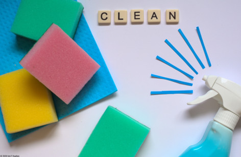 Cleaning products flatlay