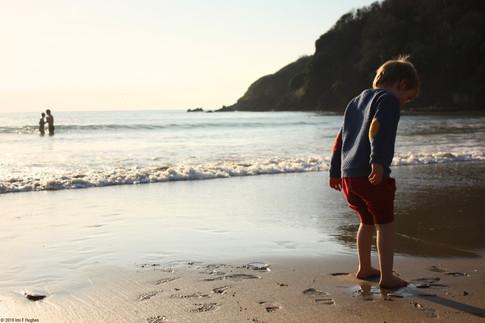 Child paddling on beach