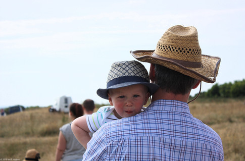 Father and son in hats