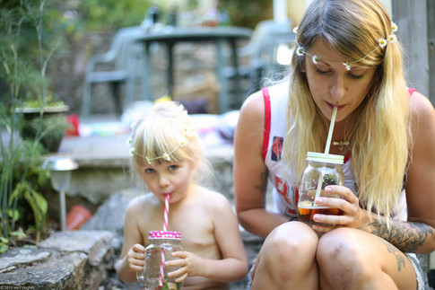 Aunt and niece with drinks