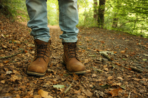 Hiking boots in forest