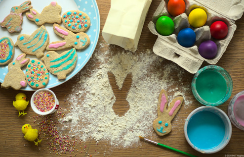Easter biscuits flatlay