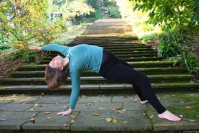 Yoga pose outside on steps