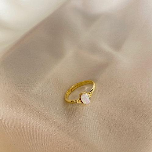 Beyaz Opal Taşlı Yüzük-925 Gümüş