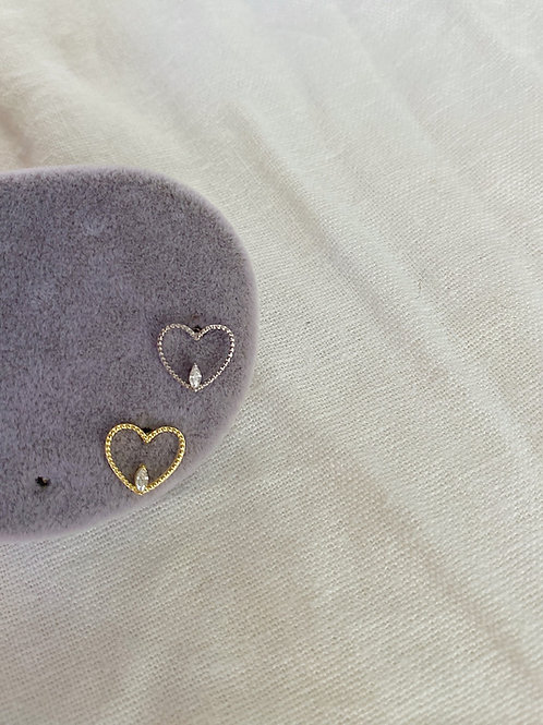 Kalp & Taş Piercing | 925 Gümüş