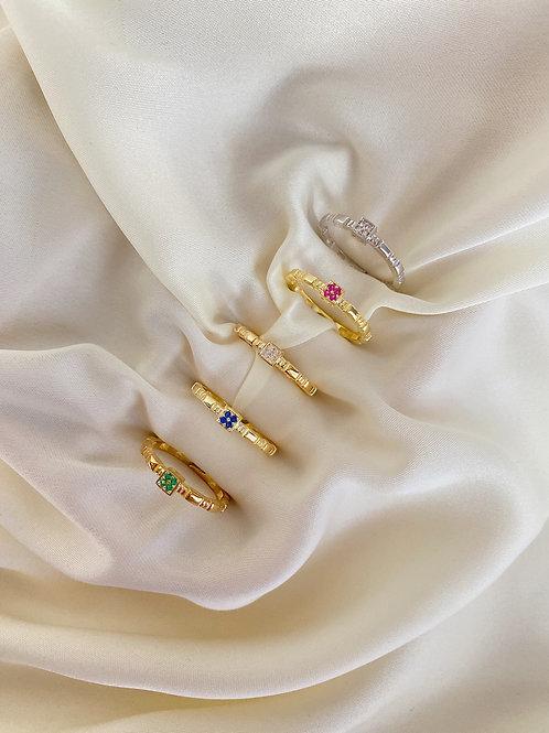 Renkli Taşlı Çiçek Yüzük-925 Gümüş