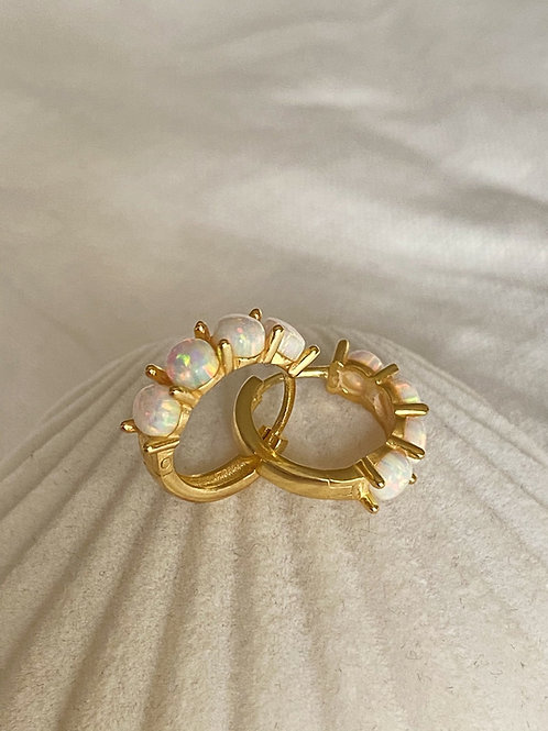 Opal Taşlı Taç Halka Küpe-925 Gümüş