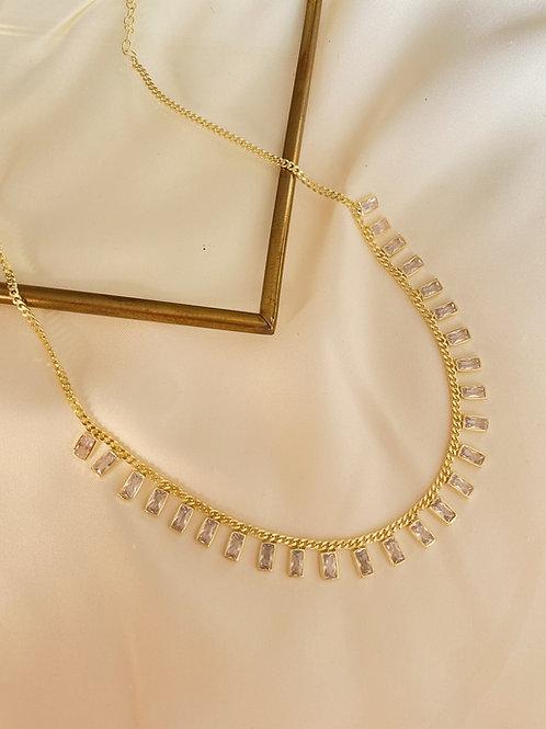 Beyaz Baget Taşlı Kolye | 925 Gümüş