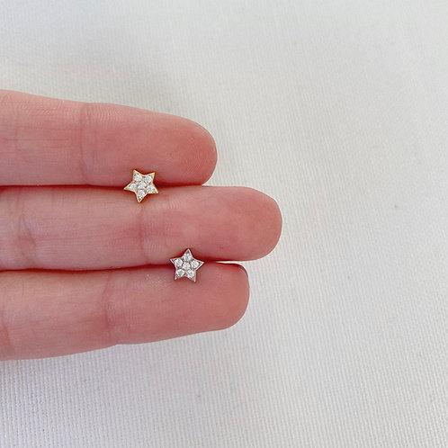 Taşlı Yıldız Küpe | 925 Gümüş