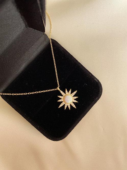 Opal Taşlı Güneş Kolye-925 Gümüş