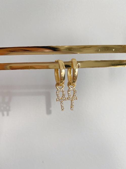 Ankh Küpe  925 Gümüş