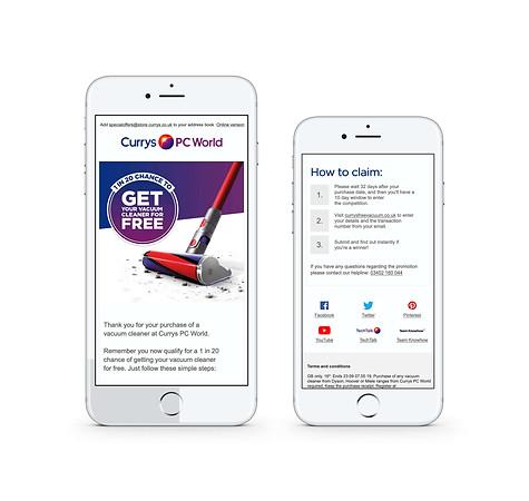1in 20 Win - Vacuum Fulfilment campaign (Mobile)