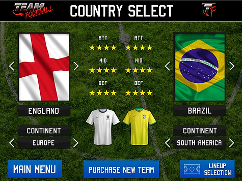 Team Football Team Selection screen