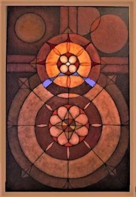 Geometric Crucifixion oil on canvas