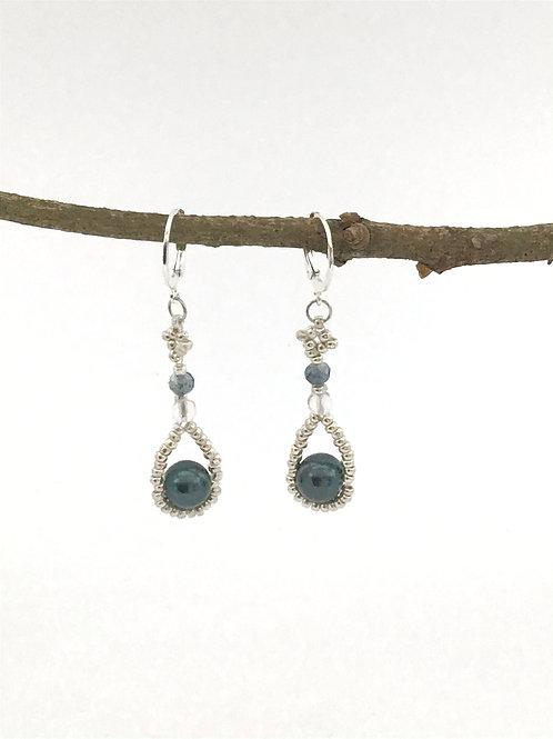 Manik-manik oorbellen blauwe glasparel