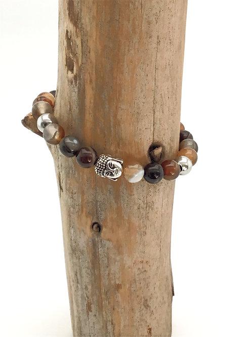 Manik-manik elastische dames/heren armband met buddha kraal