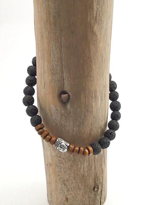 Manik-manik elastische heren buddha armband