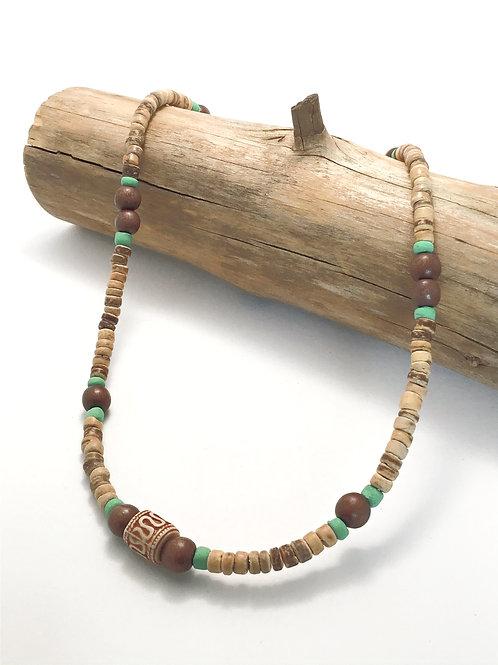 manik-manik heren ketting hout-en kokos kralen
