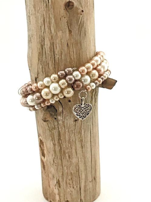 Manik-manik dames wikkel armband met parelmoeren glas kralen