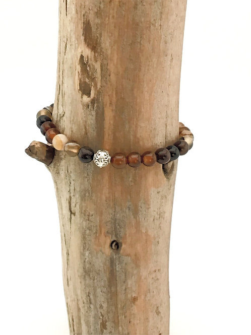 Manik-manik elastische dames armband ring agaat