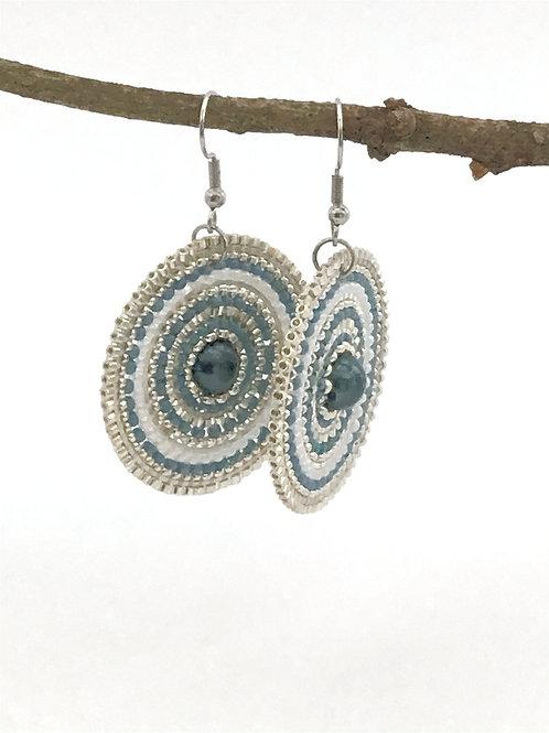 Manik-manik schijfoorbellen zilver/blauw