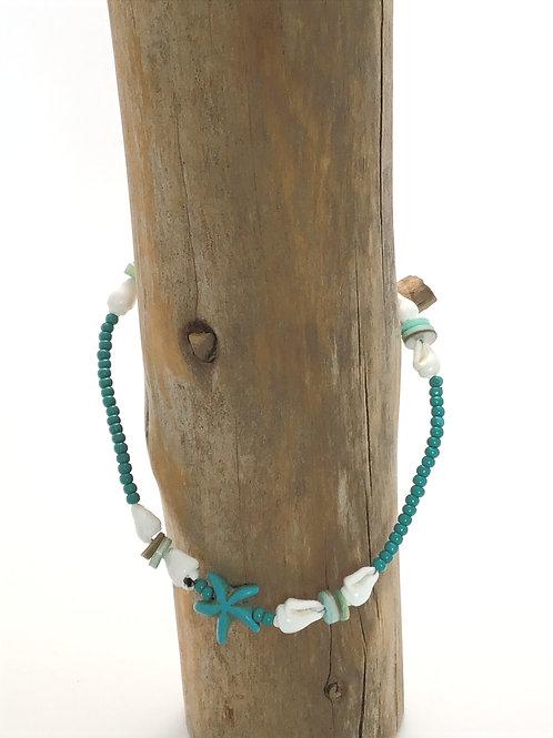 Manik-manik enkelbandje turquoise en RVS